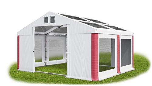 Das Company Transparentes Partyzelt 4x4 m wasserdicht weiß-rot mit Bodenrahmen und Dachverstärkung Dachplane modular 580g/m² PVC hochwertig Gartenzelt Summer Plus MST