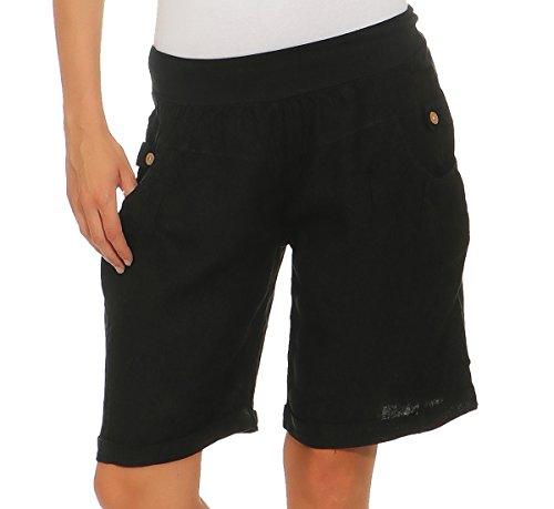 Mississhop 276 Damen Leinenshorts Bermuda lockere Kurze Hose Freizeithose 100% Leinen Shorts Elegante Haremshose mit Knöpfen Sommer Strand Graphit M Overall-shorts-outfit
