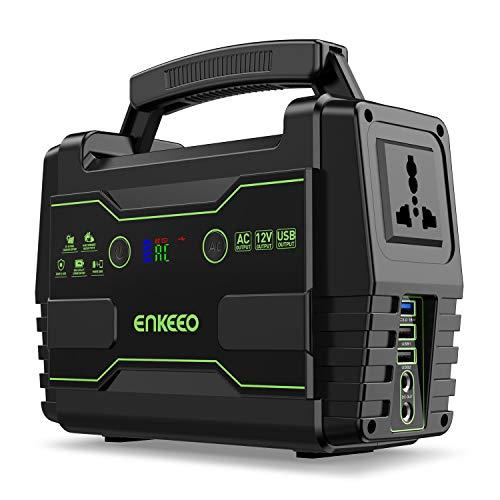 ENKEEO Accumulatore di Energia 155wh, Caricabatteria Portatile, Ricaricabile Tramite Corrente/Pannello Solare/Auto, Power-Saving con 1 Uscita AC 2 DC e 3 Porte USB QC3.0