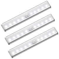 Gluckluz Motion Sensor Light Closet Night Lighting for Bathroom Hallway Stairway Portable Magnetic Security (3 Packs,Battery Operated)