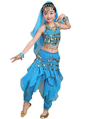 Vestidos para Niñas/Mujer Disfraces De Danza del Vientre Trajes De Danza India Lago Azul 115-125CM