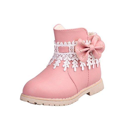TPulling Mode Junge Und Mädchen Martin Stiefel Herbst Und Winter Kinder-Verdickung Lässige Schuhe (23, Rosa) (Baby Herbst Schuhe)