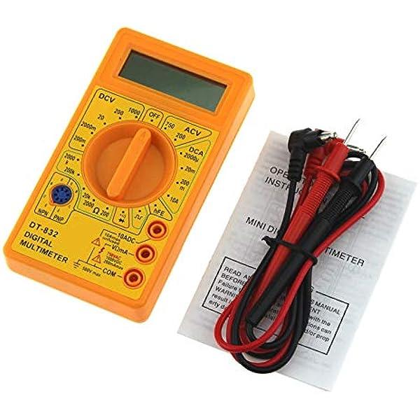 Dt 832 Mini Pocket Digital Multimeter 1999 Zählt Ac Dc Volt Ampere Ohm Diode Hfe Durchgangstester Amperemeter Voltmeter Ohmmeter Gelb Baumarkt