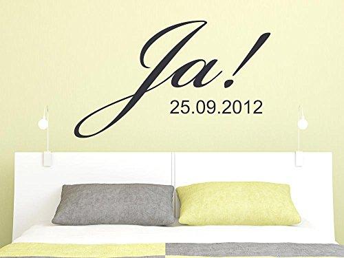 Wandtattoo Tattoo Aufkleber für Schlafzimmer Spruch Ja ! Wunschdatum Hochzeit (134x80cm // 822 water lilly) (Lilly Ja)