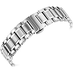 23mm Men's Luxury Heavy Solid Steel Watch Bands with Both Curved End Straight End Deployment Clasp