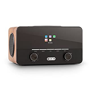 auna Connect 150 WH • 2.1 Internet Radio • WLAN • MP3 USB port • AUX • Wood • Walnut150 WN • 2.1 Internet Radio • Digital Radio • WLAN Radio • Network Player • WiFi • LAN • Spotify Connect • DAB/DAB+/FM w/ RDS • MP3 USB port • AUX • Remote Control • Wood • Walnut
