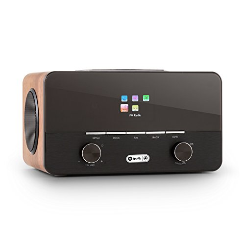 auna Connect 150 radio de internet 2.1 WiFi con reproductor multimedia (USB MP3, receptor FM-RDS, sintonizador DAB / DAB+, 3 altavoces, Spotify Connect, mando a distancia) - madera
