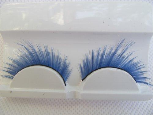 fat-catz-copy-catz - 1 Paar hochwertiger, dicker künstlicher Augenbrauen für Kostüme oder Verkleidungen - A-5 Blaue Wimpern mit Seitenflick, Einheitsgröße