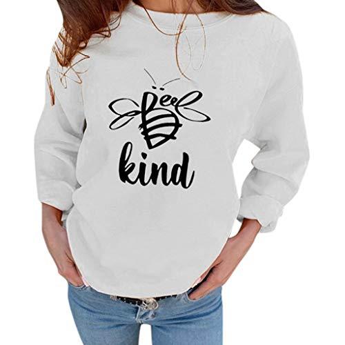 MOTOCO Damen O-Ausschnitt Langarm Top Pullover Lässig Brief Drucken Übergroße T-Shirt Bluse(S,Weiß-2)