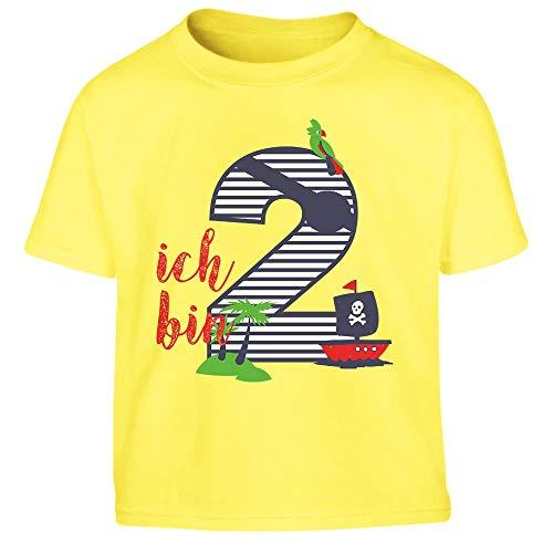 (Shirtgeil Ich bin Zwei Geschenk Geburtstag Kleinkind Kinder T-Shirt - Gr. 86-116 86/94 (1-2J) Gelb)