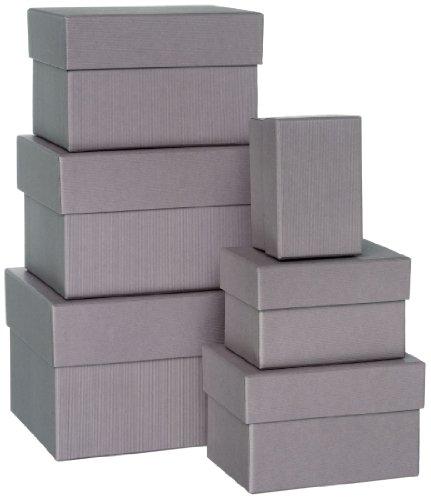 Rössler 1344453490 Paper Boxle Lot de 6 boîtes rectangulaires en carton Taupe Tailles variées