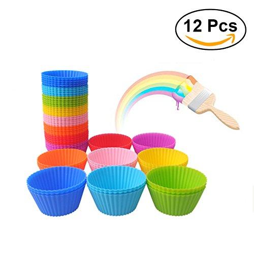 Ounona 12piezas redondo silicona muffin moldes para horno cupcake moldes Jelly molde cupcakes eléctrica...