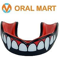 Oral Mart Protector bucal con Estuche ventilado para Karate, Boxeo, Combate, Taekwondo, Rugby Colmillo/del Vampiro Negro y Rojo