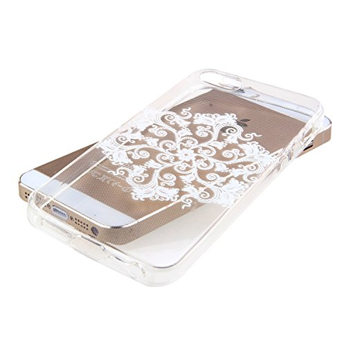 Kakashop iPhone 5C Silicone Etui Case Cover Transparent Crystal Clair Doux TPU, Rétro Fleur Peinture de Style Soft Gel Retour Housse Coque pour iPhone 5C(tournesol 2) hexagon fleur