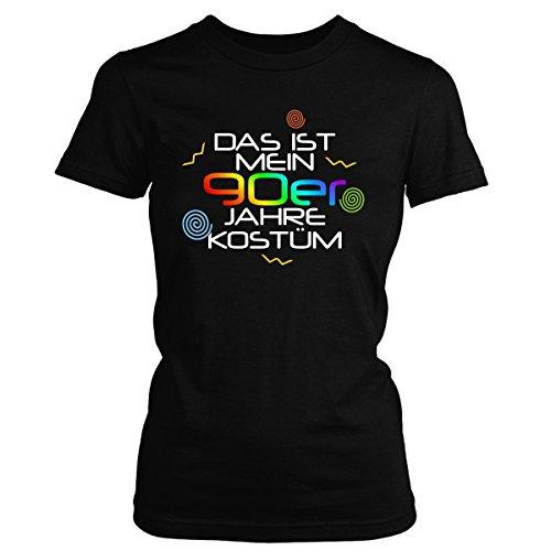 Shirtfun24 Damen DAS IST MEIN 90er JAHRE KOSTÜM Karneval Fasching T-Shirt, schwarz, M