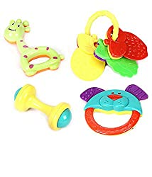 Non Toxic Baby Toys Rattle Set of 4 Pieces for Infants and Toddlers - Multi color