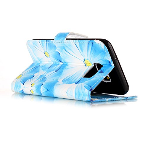 Samsung Galaxy S7 Edge Custoida in Pelle Portafoglio,Samsung Galaxy S7 Edge Cover Pu Wallet,KunyFond Lusso Moda Marmo Dipinto Leather Flip Protective Cover con Bella Modello Cover Custodia per Samsung orchidea