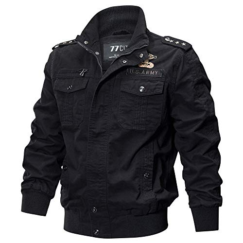 Riou Herren Bomberjacke Winterjacke Winter Baumwolle Militär Jacken Pocket Tactical Verdicken Übergangs Mäntel Draussen Windbreaker Hochwertig Fliegerjacke (XL, Khaki Dünn)