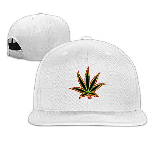 Paint0 Unisex Marijuana Weeds Flat Along Baseball Cap Hip Hop Djustable Snapback Black