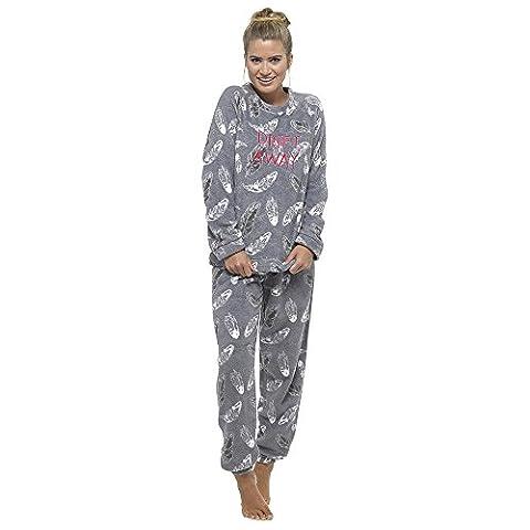 Womens Ladies Snuggle Fleece Twosie Pyjama Set Lounge Wear Warm Soft Thermal PJ with Gift Bow (UK 12-14,