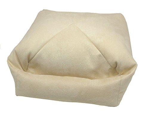 LESEfit® soft antirutsch Lesekissen, Tablet Kissen Halter, echter Sitzsack für iPad * Bücher & eBook-Reader für Bett & Sofa - Wildleder-Imitat creme