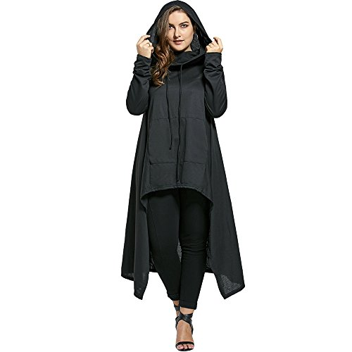 ZAFUL Hoodie Pullover Casual Sweatshirt Jacket Coats Plus Size Funnel Collar Maxi Asymmetric Spring Autumn Hoodies Top Tight Long Sleeved Jumper(BLACK 54) (Petite Coat Pullover)