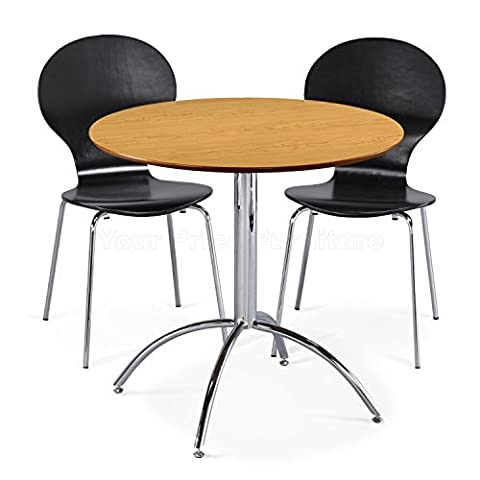 Kimberley Dining Set Natural Table and 2 Black Chrome Metal Keeler Style Stackable Dining Chairs - Kitchen Cafe Bistro Chairs & Small Round Table by Your Price Furniture
