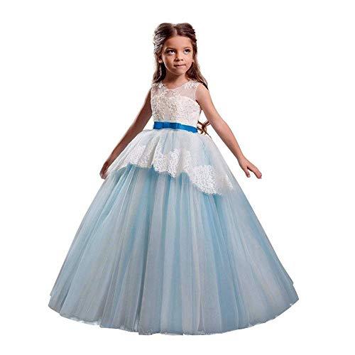 (Qiusa Kinder Kind Mädchen Kleidung, Elegante Spitze Perle gedruckt ärmelloses Kleid Mode hohe Taille Bowknot Kleid Formale Abschlussball Abendkleid Kleid Prinzessin Tüll Tutu Kleid Outfits)