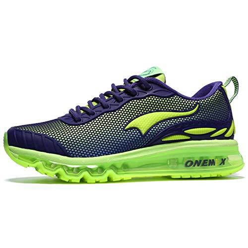 Onemix Uomini Air Cushion Scarpe Running Uomo Maglia Ginnastica Sportive Outdoor Sneakers Palestra Tennis Scarpe da Corsa verde 39 EU