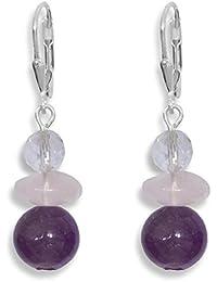 478b939caa1c ERCE cristal de roca - amatista - cuarzo rosa piedra preciosa pendientes