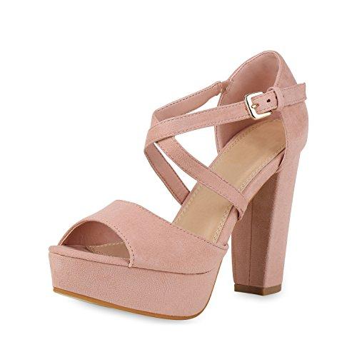 SCARPE VITA Damen Pumps Plateau Sandaletten Elegante High Heels Wildleder-Optik Schuhe Party Elegante Absatzschuhe 158268 Rosa Rose 39 - Wildleder Heels