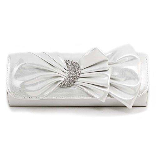 51805ca381d8d Damen Abendbankett Beutel PU-Leder Glossy Damen Clutch Neue Mädchenblumen  Umhängetasche White