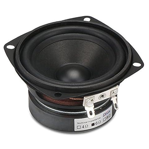 DROK® 3-Zoll-15W HIFI Full Range-Lautsprecher mit 90 dB Hohe Empfindlichkeit, 6Ω 45mm Höhe antimagnetisch Lautsprecher mit High Pitch, Quadrat Startseite Woofer Stereo-Lautsprecher geeignet für das Hören von Klassik & String Musik