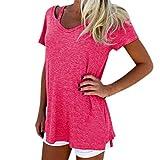 Tuniken Pullover Streetwear Bluse,Damen Sommer V-Neck Kurzarm T-Shirt Casual Tee Tops Bluse (Hot Pink, L)