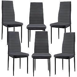 [en.casa] 6 x sillas de comedor (gris oscuro) tapizadas de cuero sintético de alta calidad / set de sillas de cocina