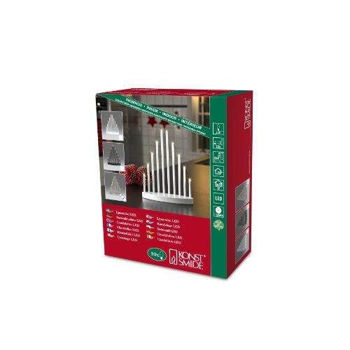 Konstsmide 2401-900TR LED Metallleuchter gebürstet / für Innen /  3V Innentrafo / 10 warm weiße Dioden / transparentes Kabel -