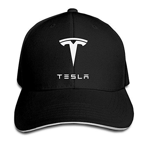 Bro-Custom Simple Tesla Motors Sandwich Flex Fit Hat Baseball Cap Black