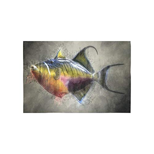 Alfreen Tapestry Art Decor, Colorful Trigger Fish Fish Taxidermy Mount Marine 2967120 Tapestries Wall Hanging Flower Psychedelic Tapestry Wall Hanging Indian Dorm Decor for Living Room Bedroom