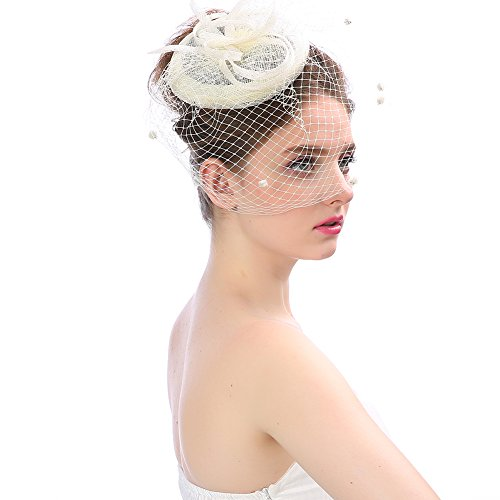 Tea Party Stirnband Kentucky Derby Hochzeit Cocktail Blume Mesh Federn Haarspange ()