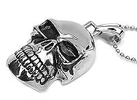 Epinki Stainless Steel Pendant Necklace, Mens Vintage Punk Rock Silver Skull Necklace