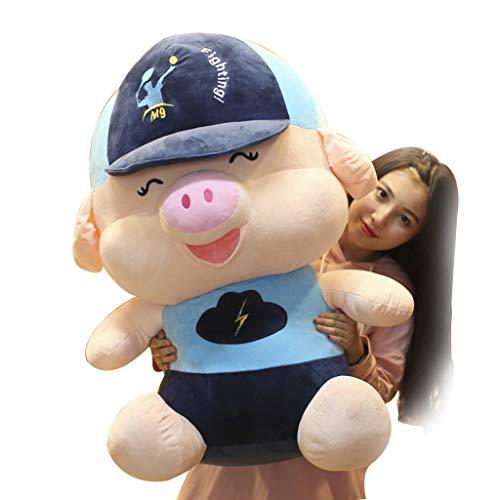 Kissen niedlichen Schwein Puppe Plüschtier Mädchen Schlaf Kissen Baseballkappe Plüschtier Kind Geburtstagsgeschenk sehr gesundes und sicheres Material (Color : PINK, Size : Height 100CM)