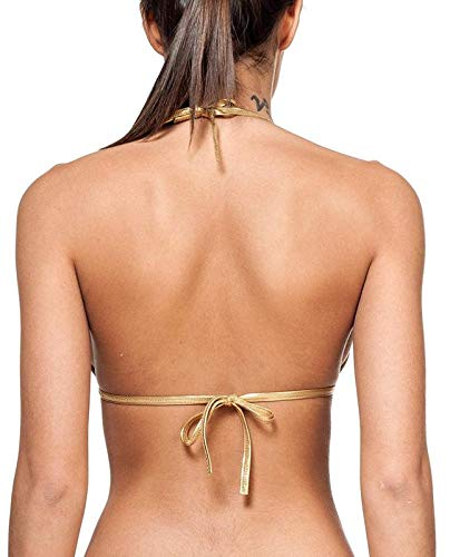 MPitude Women's Poly Spandex Wet Look Leather Bra (Gold, Free Size)