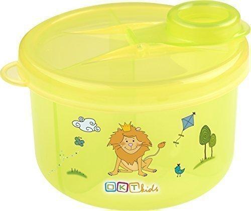 Milchpulver - Portionierer mit 3 Fächern Milchpulverspender Milchpulverbox Hippo grün