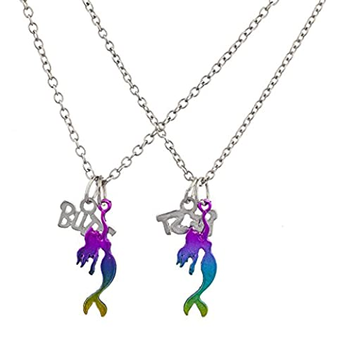 Lux Accessories Silver Tone Rainbow Mermaid BFF Best Buds Necklace