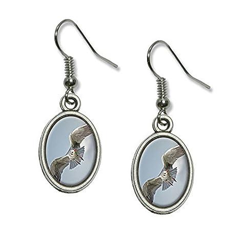 Oiseau de Mer Mouette en vol–Pendentif fantaisie Boucles d'oreilles Charme ovale