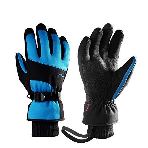 WYYUE Skihandschuhe 3M Thinsulate Warm Gloves Touchscreen Winterhandschuhe Wasserdicht und verstellbar Cuff Riding Snowboarding Skifahren für Damen Herren,Blue,S -