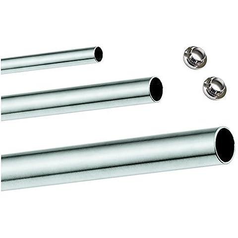 5 x GedoTec muebles tubo armario tubo barra 1200 mm incluye unidades{10} tubo armario de almacenamiento | Diámetro 25 mm | De acero cromado | | Fabricado en