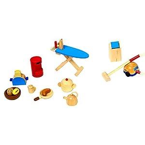 Goki 51939 - Utensilios de cocina para casa de muñecas (19 piezas)