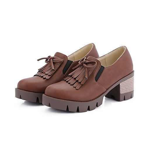 Allhqfashion Bombas Médio Marrons Renda Puras Couro Redondo Sapatos Senhoras Do Pu Salto Dedo Pé qwSfFw5r