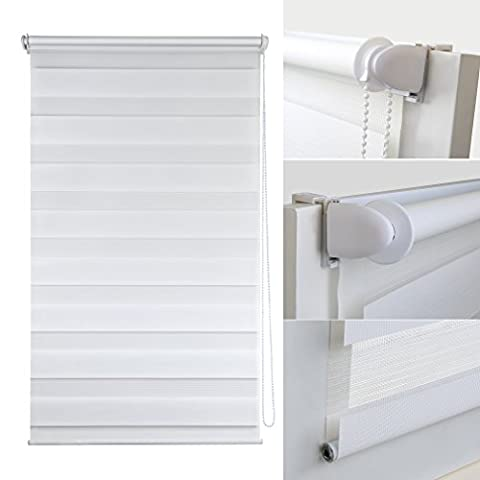Shiny Home Blanc Stores roulant en PVC - 90 x 150cm Double Zebra Rideaux - Translucides ou Opaques - Klemmfix sans Percage ni Vis - Salle de bain Bureau Cuisine